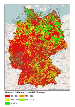 The energy-transition map clearly shows pioneers and stragglers among all municipalities in Germany. As a basis for the map, researchers used an indicator that takes into account not only the pure quantity of electricity, but also the flexibility of a decentralised group of power stations. Photo: Applied Energy/Elsevier