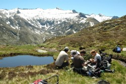 Monitoring of amphibian populations and their pathogens in the French Pyrenees. Pic Rouge can be seen in the background. Photo: Dirk Schmeller