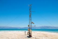 Die mit 429 Metern unter dem Meeresspiegel tiefstgelegene meteorologische Station auf der Erde misst kontinuierlich die Verdunstung des Wassers des Toten Meeres Foto: U. Corsmeier, KIT