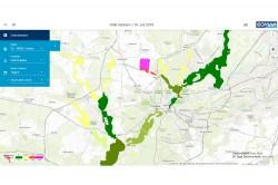 Darstellung der satellitengestützten Identifikation von Algenblüten mit erhöhten Werten im Fahrlander See (Brandenburg) am 16. Juli 2018, visualisiert in der Webapplikation eoApp® Foto: EOMAP