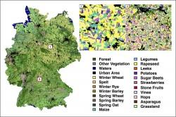 Deutschlandkarte Landbedeckung. Der Algorithmus identifiziert 19 verschiedene Feldfruchtarten mit einer Genauigkeit von 88 Prozent.
