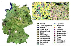 Map of Germany, land cover. The algorithm identifies 19 different types of crops, accurate to 88 percent.