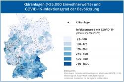 Gro�e Kl�ranlagen sind entsprechend der Einwohnerdichte �ber Gesamtdeutschland verteilt. Ein Abwassermonitoring k�nnte Infektionsherde bundesweit fr�h quantitativ, �rtlich differenziert und in ihrem zeitlichen Verlauf erfassen. Foto: �UFZ (Karte)