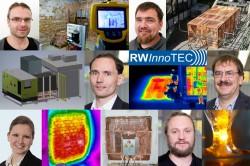 RWInnoTec-Gründer-Team: oben: Frank Holzer und Christian Hoyer; Mitte: Markus  Kraus und Ulf Roland; unten: Maria Kraus und Ulf Trommler Foto: Susan Walter-Pantzer / UFZ (Grafik)