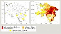 Aktuelle Situation der Dürre in Niedersachsen: Oberboden bis 25cm Tiefe (links) und Gesamtbodens (rechts). Stand: 04.05.2021 Foto: UFZ-Dürremonitor
